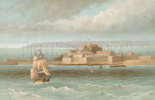 Elizabeth Castle – Jersey. Illustration for English Scenery (T Nelson, 1889). Chromolithographs.