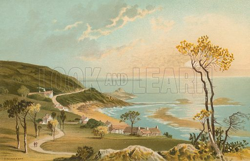 The Road from Gorey to St Catherines – Jersey. Illustration for English Scenery (T Nelson, 1889). Chromolithographs.