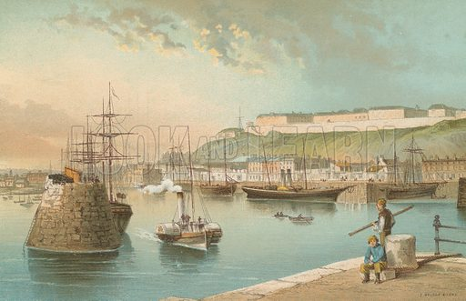 Harbour and Fort Regent, St Heliers – Jersey. Illustration for English Scenery (T Nelson, 1889). Chromolithographs.