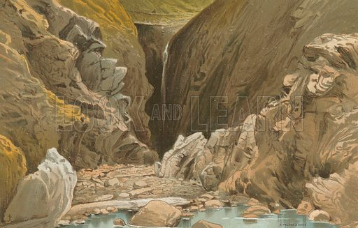 Waterfall Cave, Plemont – Jersey. Illustration for English Scenery (T Nelson, 1889). Chromolithographs.