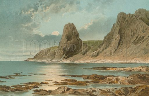 Pinnacle Rock St Ouens – Jersey. Illustration for English Scenery (T Nelson, 1889). Chromolithographs.