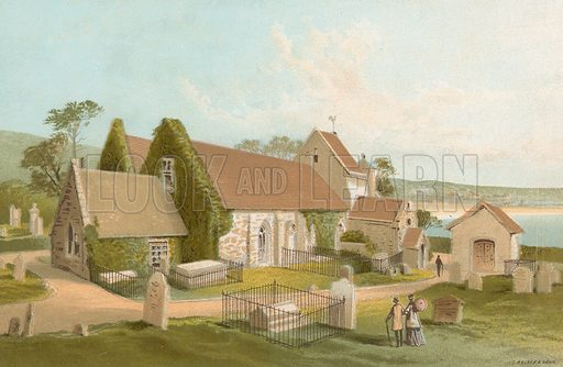 St Brelade's Church – Jersey. Illustration for English Scenery (T Nelson, 1889). Chromolithographs.