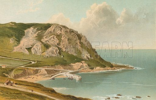 Bon Nuit Bay – Jersey. Illustration for English Scenery (T Nelson, 1889). Chromolithographs.