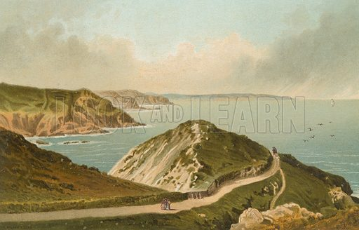Path to the Devil's Hole – Jersey. Illustration for English Scenery (T Nelson, 1889). Chromolithographs.