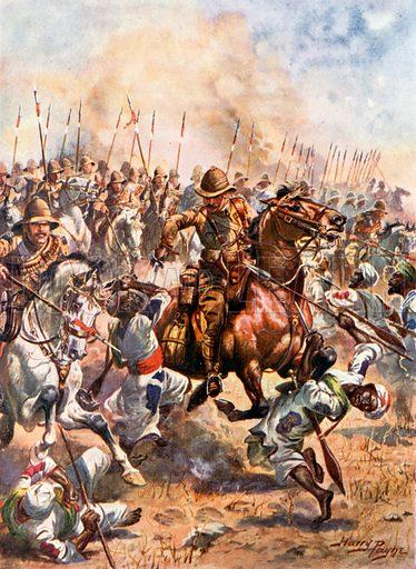 Charge of the Twenty-First Lancers. Battle of Omdurman. Illustration for Glorious Battles of English History (Raphael Tuck, c 1905).