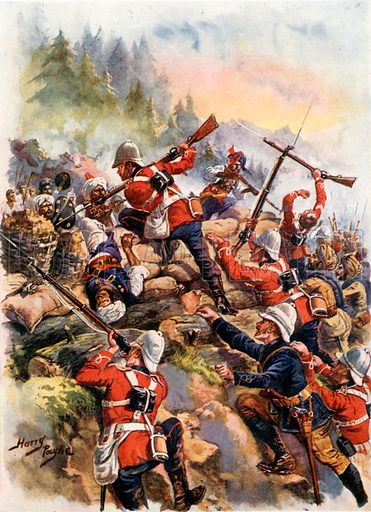 Storming the Heights. Peiwar Kotal. Illustration for Glorious Battles of English History (Raphael Tuck, c 1905).