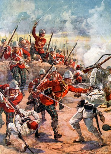Storming the Trenches. Battle of Tel-el-Kebir. Illustration for Glorious Battles of English History (Raphael Tuck, c 1905).