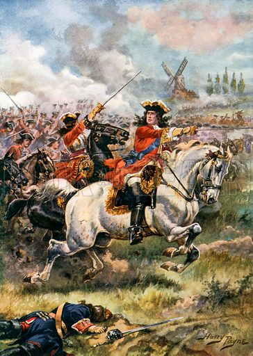 Marlborough Leading the Attack. Battle of Blenheim. Illustration for Glorious Battles of English History (Raphael Tuck, c 1905).