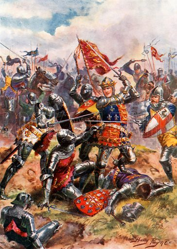 King Henry V Fights with Heroic Valour. Battle of Agincourt. Illustration for Glorious Battles of English History (Raphael Tuck, c 1905).