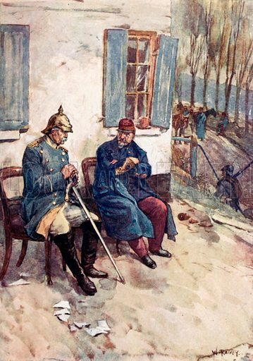 """""""Chairs were brought that Napoleon and the Minister might sit out of doors."""" Illustration for The Story of France by Mary Macgregor (Jack, c 1915)."""