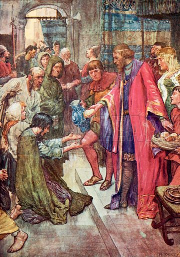 'The Good King was to be seen giving Food and Drink to the Folk.' Illustration for The Story of France by Mary Macgregor (Jack, c 1915).