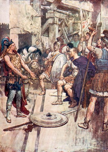'Vercingetorix Threw his Arms at the Feet of his Conqueror.' Illustration for The Story of France by Mary Macgregor (Jack, c 1915).