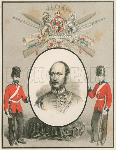 HRH The Late Prince Consort, Colonel of the Grenadier Guards. Illustration for History of the Scottish Regiments (Thomas Murray, c 1880).