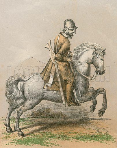 Scotch dragoon, 1680. Illustration for History of the Scottish Regiments (Thomas Murray, c 1880).