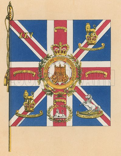 Queen's Colours of Twenty-Fifth, or King's Own Borderers. Illustration for History of the Scottish Regiments (Thomas Murray, c 1880).