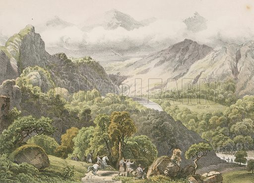 Pass of Killiecrankie. Illustration for History of the Scottish Regiments (Thomas Murray, c 1880).