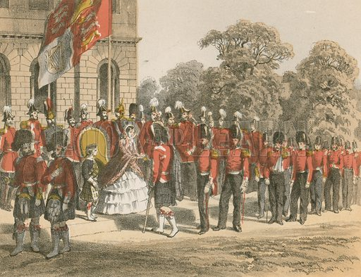 Presentation of Crimean Medals by Her Majesty, Horse Guards, London. Illustration for History of the Scottish Regiments (Thomas Murray, c 1880).