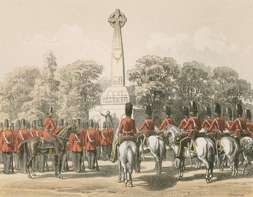 Inauguration of the Monument to the Seventy-Eighth, Edinburgh. Illustration for History of the Scottish Regiments (Thomas Murray, c 1880).