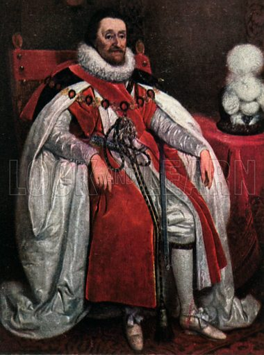 James I. Illustration for The Portrait Book of the Kings and Queens of Great Britain (Jack, c 1915).
