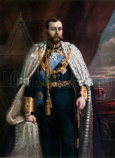 HM King George V. Illustration for The Portrait Book of the Kings and Queens of Great Britain (Jack, c 1915).