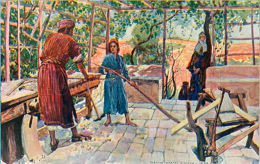 Jesus Labouring at Home with Joseph and Mary. Illustration for The Life of the Master (Hodder and Stoughton, 1901).