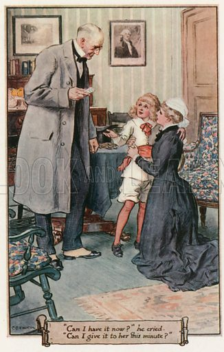 """""""Can I have it now?"""" he cried. """"Can I give it to her this minute?"""" Illustration for Little Lord Fauntleroy by Frances Hodgson Burnett (Frederick Warne, 1925)."""