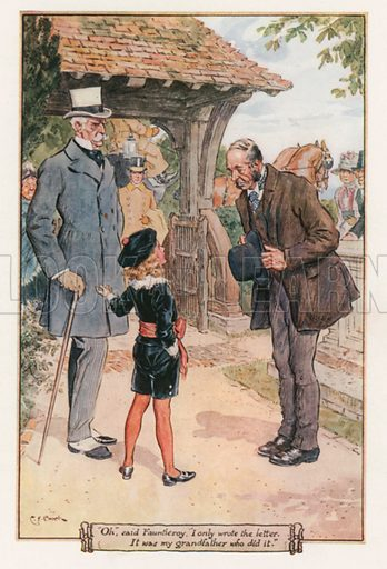 """""""Oh,"""" Said Fauntleroy, """"I only Wrote the Letter. It was my Grandfather who did it."""" Illustration for Little Lord Fauntleroy by Frances Hodgson Burnett (Frederick Warne, 1925)."""