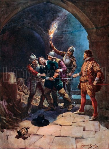 The Arrest of Guy Fawkes. Illustration for Madame Tussaud's The Palace of Enchantment (Raphael Tuck, c 1910).