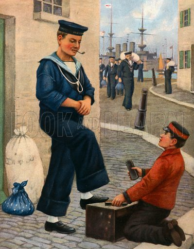 Shoe-shine boy, picture, image, illustration