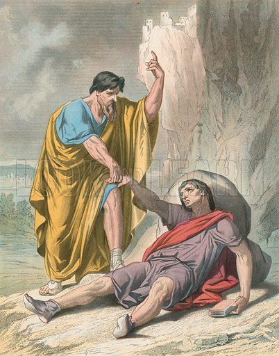 Evangelist Raises up Christain. Illustration for Bunyan's Allegorical Works edited by Charles Wright (Groombridge, c 1880).