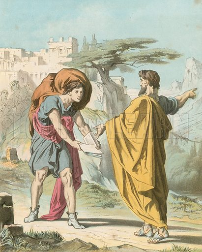 Evangelist Directing Christian to Flee from the Wrath to Come. Illustration for Bunyan's Allegorical Works edited by Charles Wright (Groombridge, c 1880).