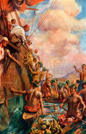 Captain Cook's Arrival at Tahiti (1769). Illustration for Pioneers in Australasia by Sir Harry Johnston (Blackie c 1910).