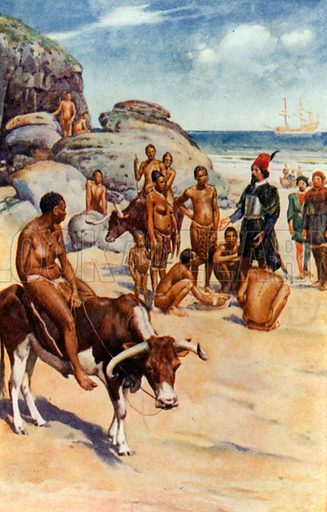 The Portuguese and Hottentots. Illustration for Pioneers in South Africa by Harry Johnston (Blackie, c 1910).