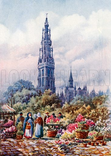 Cathedral and Place Verte, Antwerp. Illustration for Belgium the Glorious (Hutchinson, c 1920).