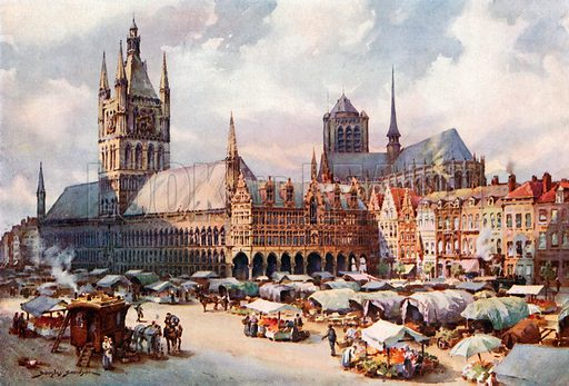 The Market-Place, Ypres. Illustration for Belgium the Glorious (Hutchinson, c 1920).
