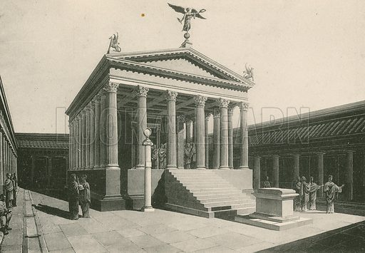 The Temple of Apollo as it was. Illustration for Pompei Past and Present (Beccarini, c 1900).