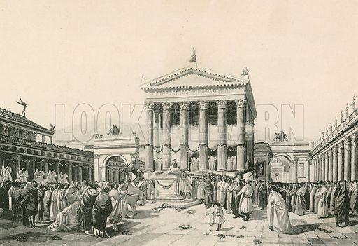 A Sacrifice to Jove in the Civil Forum. Illustration for Pompei Past and Present (Beccarini, c 1900).