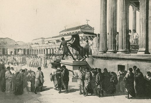 The Elections in the Civil Forum. Illustration for Pompei Past and Present (Beccarini, c 1900).