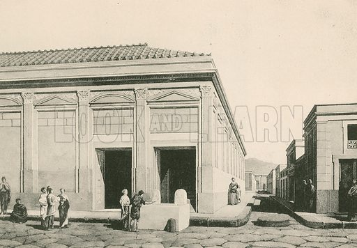 The Building of Eumachia as it was. Illustration for Pompei Past and Present (Beccarini, c 1900).