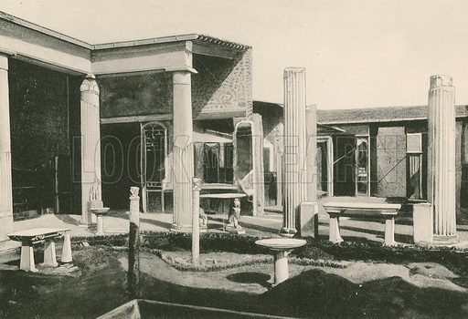 The Viridarium in the House of the Vettii. As it is. Illustration for Pompei Past and Present (Beccarini, c 1900).