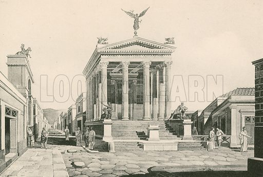 The Temple of Fortune as it was. Illustration for Pompei Past and Present (Beccarini, c 1900).