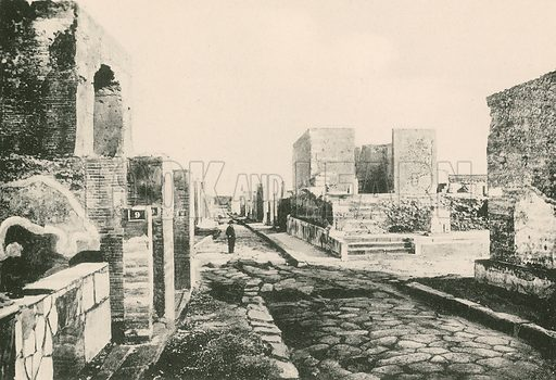 The Temple of Fortune as it is. Illustration for Pompei Past and Present (Beccarini, c 1900).
