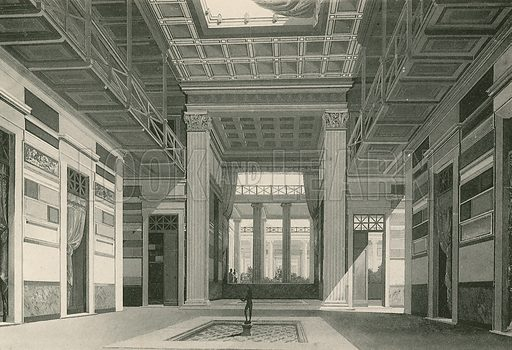 The Atrium of the Cassia House as it was. Illustration for Pompei Past and Present (Beccarini, c 1900).