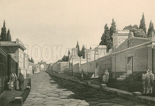The Street of the Tombs as it was. Illustration for Pompei Past and Present (Beccarini, c 1900).
