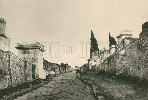 The Street of the Tombs as it is. Illustration for Pompei Past and Present (Beccarini, c 1900).