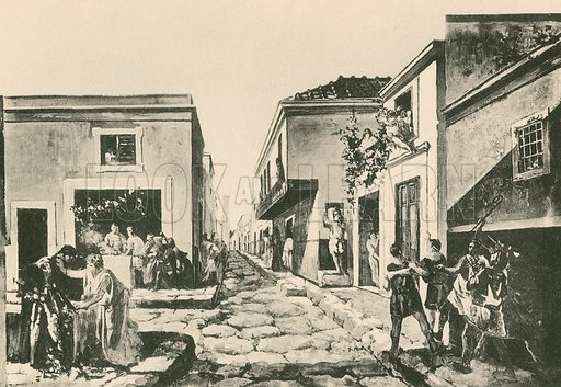 The House of the Pensile Balcony as it was. Illustration for Pompei Past and Present (Beccarini, c 1900).