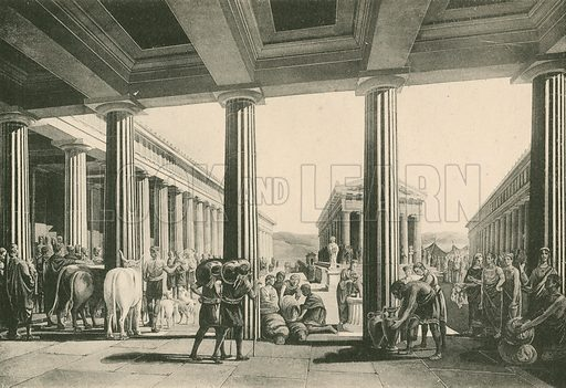 The Exchange in the Triangular Forum. Illustration for Pompei Past and Present (Beccarini, c 1900).
