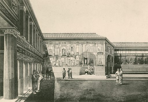 The Stabian Baths – The Court-Yard of the Stuccoes as it was. Illustration for Pompei Past and Present (Beccarini, c 1900).