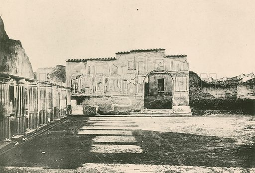 The Stabian Baths – The Court-Yard of the Stuccoes as it is. Illustration for Pompei Past and Present (Beccarini, c 1900).