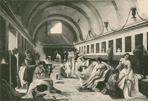 The Frigidarium of Womans in the Stabian Baths, as it was. Illustration for Pompei Past and Present (Beccarini, c 1900).
